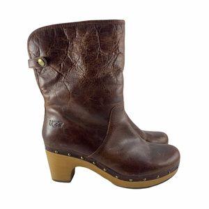 UGG Australia Lynnea Brown Leather Clog Booties 9